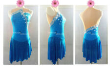 Blue Ice Figure Skating Dress/Dance/Baton Twirling costume Outfit Custom Made