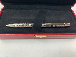 Fine Cartier Palladium Finish Silver Ballpoint Pen in Original Case