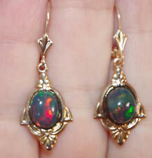 ANTIQUE 14K GOLD / GF 37MM ETHIOPIAN OPAL FIREY OVAL  LEVER BACK EARRINGS