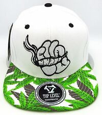 Marijuana Snapback Cap Hat Mickey Cartoon Hand Kush 420 Blunt Joint Weed