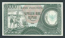 F.C. INDONESIA , 10000 RUPIAS 1964 , S/C- ( AUNC ) , MANCHITA MARGEN , P.101a .