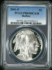 2001-P PCGS PR69 DCAM Buffalo Silver Dollar $1 99c NO RESERVE  Witter Coin