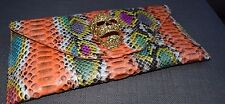Genuine Python Crystal Skull Multi Colour Foldover Clutch Bag
