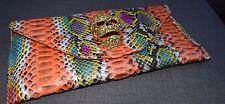GENUINA PYTHON Cristal Cráneo Multi Color Plegable Clutch Bag