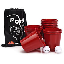 Giant Yard Pong Outdoor Game Bucket Ball Set for Beach Bbq Picnic w/ Carry Bag