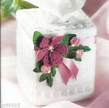 *Milk Glass Rose Tissue Topper -Pattern Only*Plastic Canvas Pattern*