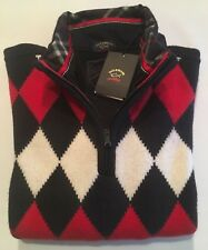 NEW Paul & Shark Yachting Jacket ZIP Blusotto Sweater Lupetto L RED WOOL