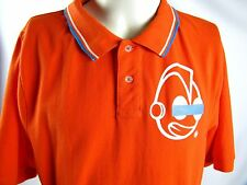 Kid Robot Back Panel Polo Shirt XL Extra Large Bright Orange Blue White