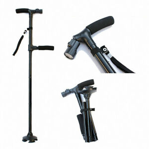 Double handle Folding LED Safety Walking Stick 4-Feet Base Trusty Cane for Old