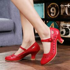 Womens Ladies Low mid Heel Mary Jane Strap Work Classic Vintage Cut Out