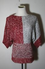 Women's VINTAGE SUZIE Gray Red Kimono Sleeve Sweater Size S NWOT