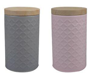 Round Embossed Storage Kitchen Canister Set Tea Coffee Sugar Biscuit Tin Jars