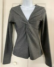 M Med Women's Vintage prAna Long Sleeve Twist Knot Front Top Heather Gray NICE!