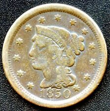 "1850 United States ""Braided Hair"" 1 Cent Coin"