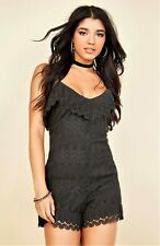 GUESS ROMPER Womens Black VITA Ruffled Lace Size XL NWT