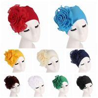 Headscarf Elastic Chemo Cap Hair Loss Wrap Muslim Hijab Flower Size Hat