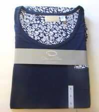 New Short Sleeve Oscar de la Renta Women's Navy Pajama Set Size Large