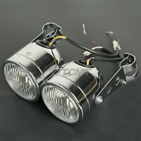 New Chrome Dominator Headlights+Bracket For Motorcyle Cafe Racer Street Fighter