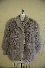Vtg 80s 90s Women's Koslow's Mongolian Tibetan Curl Lamb Shaggy Fur Coat M Boho