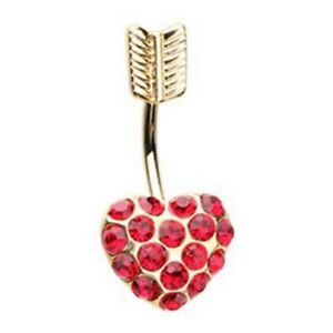 """RED HEART ARROW BELLY BUTTON RING NAVEL PIERCING BODY JEWELRY (14G 3/8"""")"""