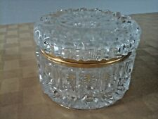 COLLECTIBLE VANITY TRINKET BOX IMPERLUX LEAD CRYSTAL ROUND JEWELRY CASKET