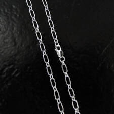 24 Inch .925 Sterling Silver 6x3.4mm Long and Short Chain Necklace
