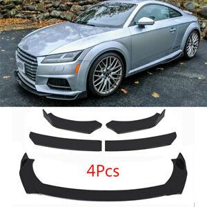 For Audi A3 A4 Q3 RS5-7 S3 TT TTS Glossy Black Front Bumper Lip Spoiler Kit 4Pcs