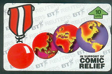 """BT Internal 112, Comic Relief, Red """"nose"""" medal and world maps, Mint, Cat £25"""