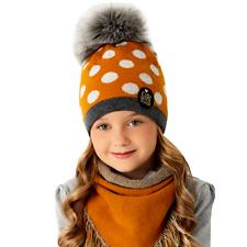 AJS Mädchen Winterset Mütze Wintermütze Strickmütze Bommelmütze Halstuch Wolle