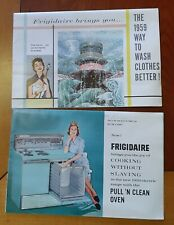 Pre 1959 vintage Frigidaire laundry and Stove Brochures with prices written in