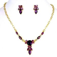 Gold Plated Purple Crystal And Rhinestones Teardrop Necklace And Earrings Set