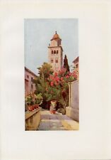 Stampa antica CAMPANILE ISOLA di SAN GIULIO Lago d' ORTA 1905 Old antique print