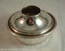 Antique Hair Receiver Silver Plate 2 Piece Beaded Trim Hallmark Vintage Vanity