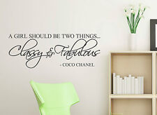 A girl should be two things Classy & Fabulous WALL DECAL Sticker Coco Channel