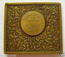e646 1929 FOOTBALL Championship Sports Nude Man Art Deco Bronze Medal By Fraisse