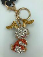 Cute Bunny Rabbit Diamante Keyring Rhinestone handbag Charm Bling gift NEW
