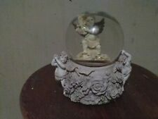 Vintage Musical Globe Ornate Angels And Flower base Angel Playing Harp