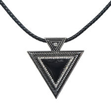 Large Black Triangle Fashion Pendant Necklace, Gifts for Her, Wife Gifts