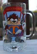 "RARE 1998 Telephone Booth  ""SUPER"" Taz Warner Bros. Glass Mug Stein"