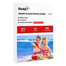 Koala 100 Sheets 5x7 Premium 48lb Glossy Inkjet Printer Photo Paper Epson Canon