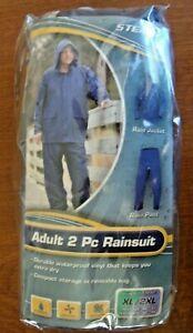 NEW STEARNS Adult XL/2XL 2 piece Rainsuit Waterproof Blue Vinyl Jacket Snap Pant