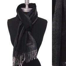 New Mens 100% CASHMERE Scarf Black Gray Herringbone Tweed Plaid SCOTLAND Soft