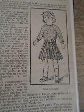 """PATRON ORIGINAL  POUPEE """" BLEUETTE """" ROBE  AU CROCHET LAINE OU COTON NOV   1918"""