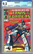 Transformers #3 CGC 9.2 WP 1985 3941185010 Spider-Man Black Suit App!