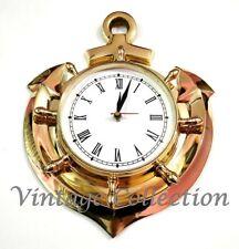 Nautical Brass Ship Anchor Wall Clock Antique Roman Numeral Home Decor Clock