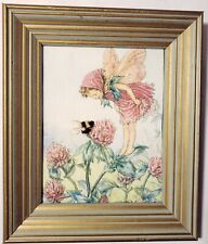 Red Clover Flower Fairy Picture Wood Frame 13.5 x 12 Nursery Girls Room