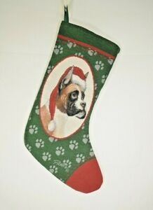 """MWW - Boxer Tapestry Christmas Stocking by Linda Picken - 20"""" Stocking"""