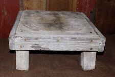 Vintage Old Wood Wooden Bench Step Stool Rustic Primitive White Country Milking