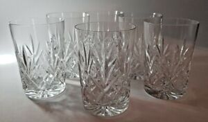6 QUALITY CUT & ETCHED CRYSTAL GLASSES - WHISKEY SPIRIT TUMBLERS 9CM