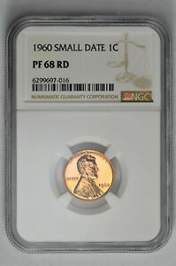 1960 Small Date 1C Proof Lincoln Memorial Cent NGC PF 68 RD